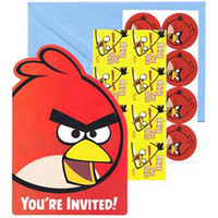"Invitations Angry Birds, Includes ""Save The Date"" stickers, Seals and Envelopes - Pack of 8"