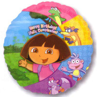 45cm Birthday Dora & Friends Foil Balloon (Self sealing balloon, requires helium inflation