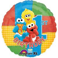 45cm 1st Birthday Sesame Street Foil Balloon