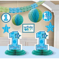 Decorating Kit 1st Birthday Boy Contains 4 x 25cm C/O, 1 x 36cm C/O, 1 x 3.65m Garland, 2 x 30cm H/C Balls, 2 x 25cm H/Comb C/Pieces - Each