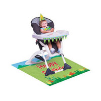 Jungle Buddies High Chair Kit, Contains 1 Mini Plastic Flag Banner (78.74cm Long), 1 x Plastic Floor Mat (121.92cm x 76.2cm) and 1 x Plastic Bib (HAT IN IMAGE NOT INCLUDED) - Each