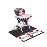 Ladybug Fancy High Chair Kit, Contains 1 Mini Plastic Flag Banner (78.74cm Long), 1 x Plastic Floor Mat (121.92cm x 76.2cm) and 1 x Plastic Bib - Each