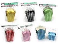 Paper Polka Dot Noodle Pail Box Green - Small Pk5
