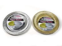 Paper Plates 29cm Gold Pk6