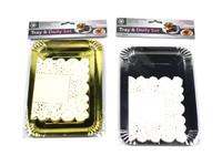 Tray & Doily Set 21cm Pk4 Silver