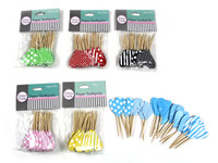 Heart Paper Toothpicks Polka Dot & Striped Green