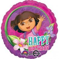 45cm Dora Happy Birthday Foil Balloon