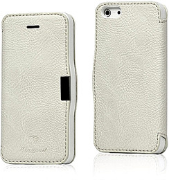 iPhone 5 5S Leather Wallet Magnet Case White