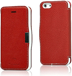 iPhone 5 5S Leather Wallet Magnet Case Red