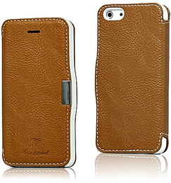 iPhone 5 5S Leather Wallet Magnet Case Brown