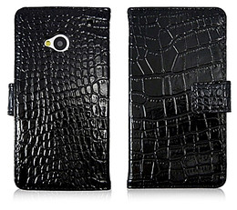 HTC One 1 Crocodile Wallet Case Genuine Leather Black