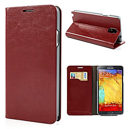 Samsung Galaxy Note 3 Classic Leather Wallet Case Red