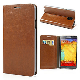 Samsung Galaxy Note 3 Classic Leather Wallet Case Brown