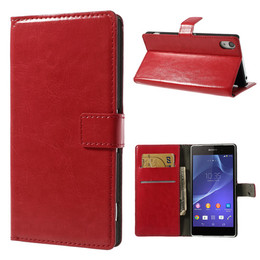 Sony Z2 leather wallet case red