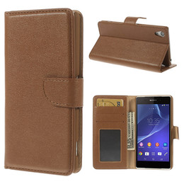 Sony Z2 leather wallet case brown