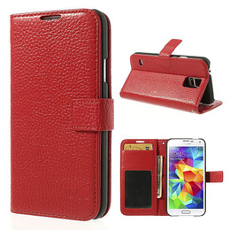 Samsung S5 folio wallet case red