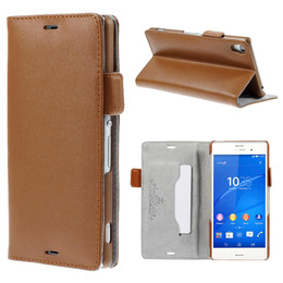 Sony Xperia Z3 Real Leather Wallet Pouch Brown