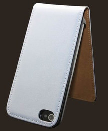 Ultra Slim Genuine Leather iPhone 4S 4 Flip Case White
