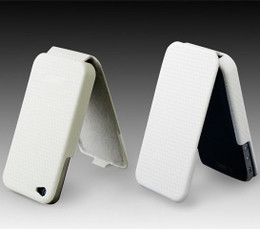 iPhone 4S 4 Carbon Fiber Flip Leather Case White