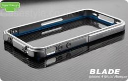 iPhone 4S 4 Blade Case Metal Bumper Silver Blue