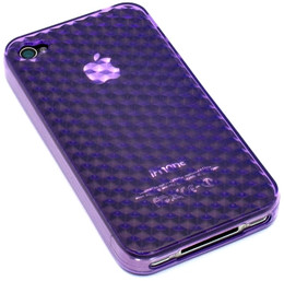Crystal 3D Diamond Back iPhone 4 Case Purple