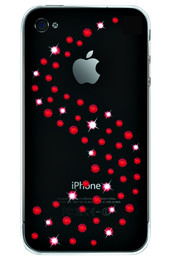iPhone 4S 4 Bling Diamante Milky Way Case Red