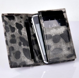 iPhone 4S 4 3GS iPod Touch Real Leather Wallet Black