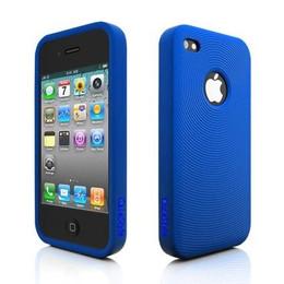 iPhone 4 Swirl Circle Silicone Skin Blue