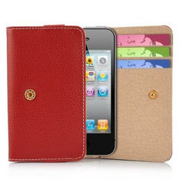 iPhone 4S 4 3GS iPod Touch Soft Leather Wallet Red