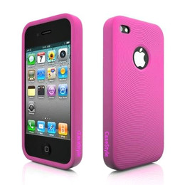 iPhone 4S Swirl Circle Silicone Skin Pink