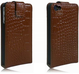 iPhone 4S 4 Genuine Leather Crocodile Flip Case Brown