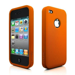 iPhone 4 Swirl Circles Silicone Skin Orange