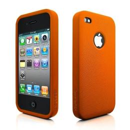 iPhone 4 Swirl Circles Silicone Skin Orange