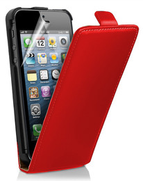 iPhone 5 Red Leather Protective Case