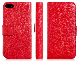 iPhone 5 5S Real Leather Wallet Red with Card Holder