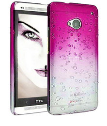 HTC One M7 Gradient Raindrop Case Pink Clear