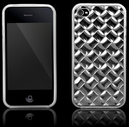 iPhone 4S 4 Squares Rubber Gel Case Clear