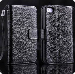 iPhone 4S 4 Genuine Cowhide Leather Wallet Black