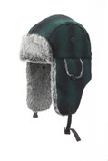 Aviator Hat Faux Fur Ombre Green-Black Plaid