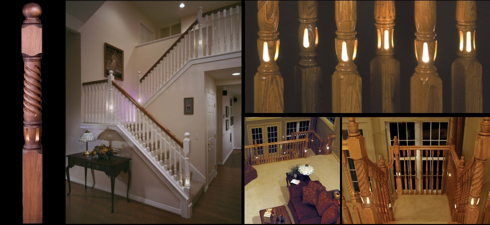 Lighted newel posts from Lighted Landings