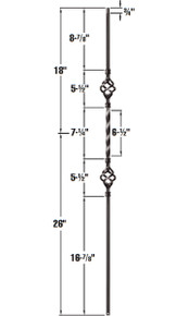 Double basket metal baluster dimensions