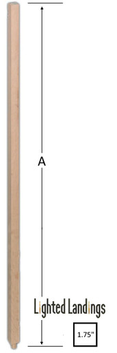Lighted Landings wood baluster. Plain square wood spindle for stairs.