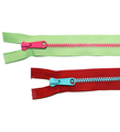 Brightly colored separating zippers from Kari Me Away