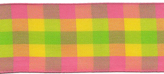 Plaid Wire Edge Ribbon from Kari Me Away in Pink, Green and Yellow