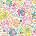 Bright Colored Mums and Flowers Lawn Fabric