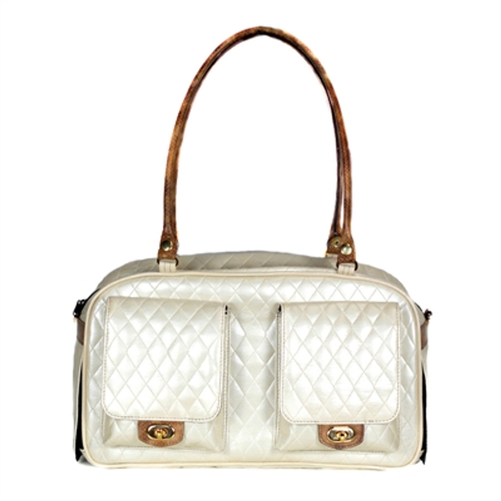 Petote Marlee - Ivory Quilted With Snake carrier
