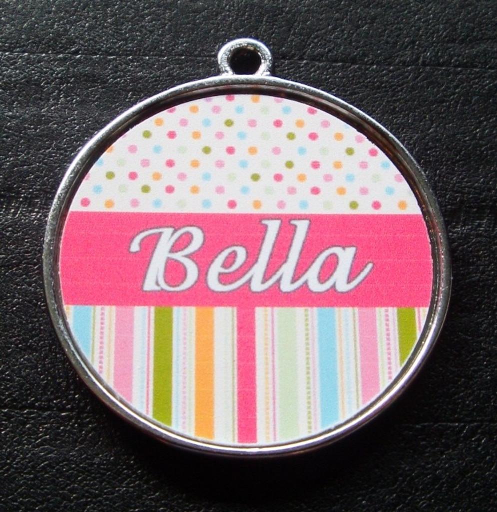 Pink Candy Polka Dot Stripes Pet ID Tag w/ Pet's Name