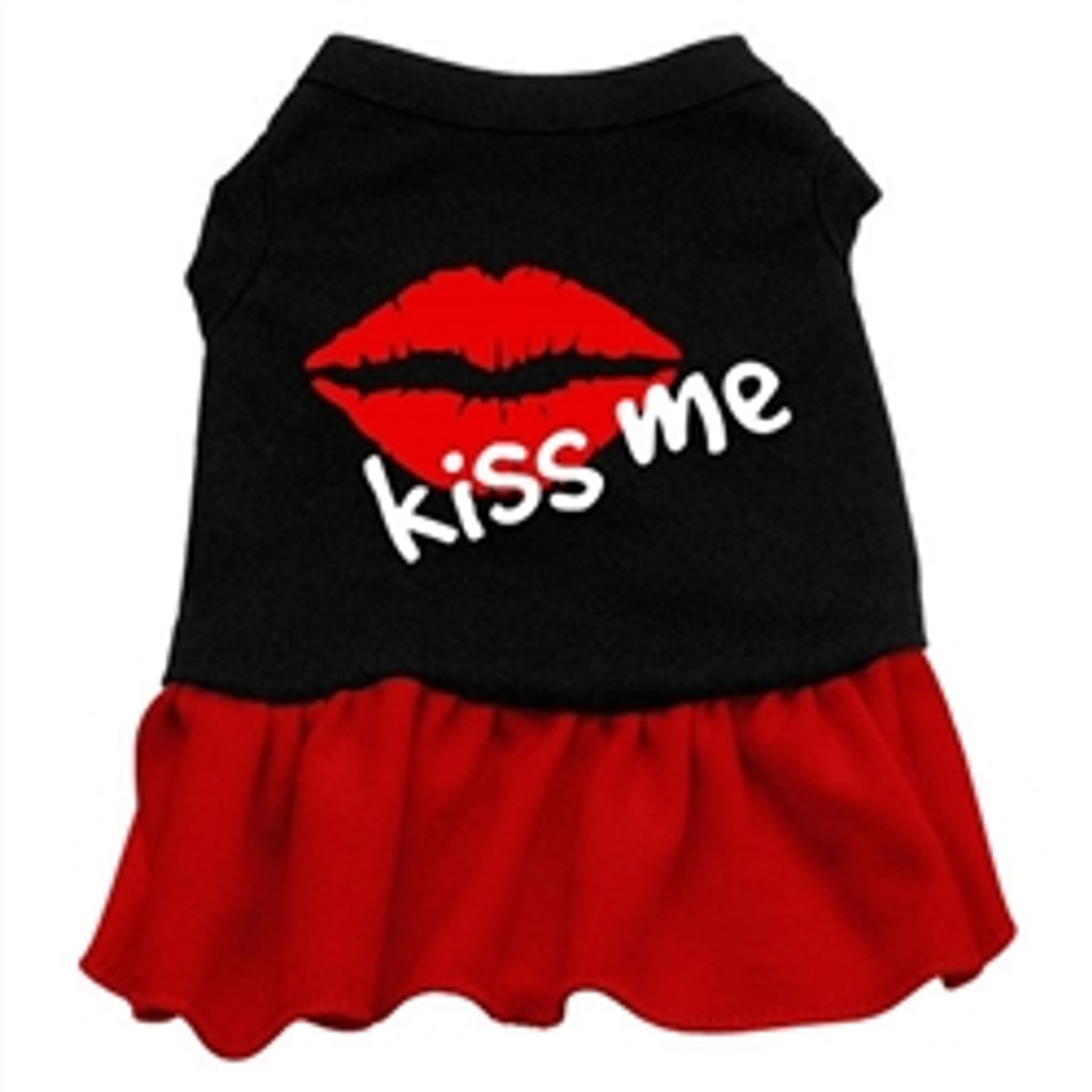 Kiss Me Screen Printed Two-Tone Dress- Red