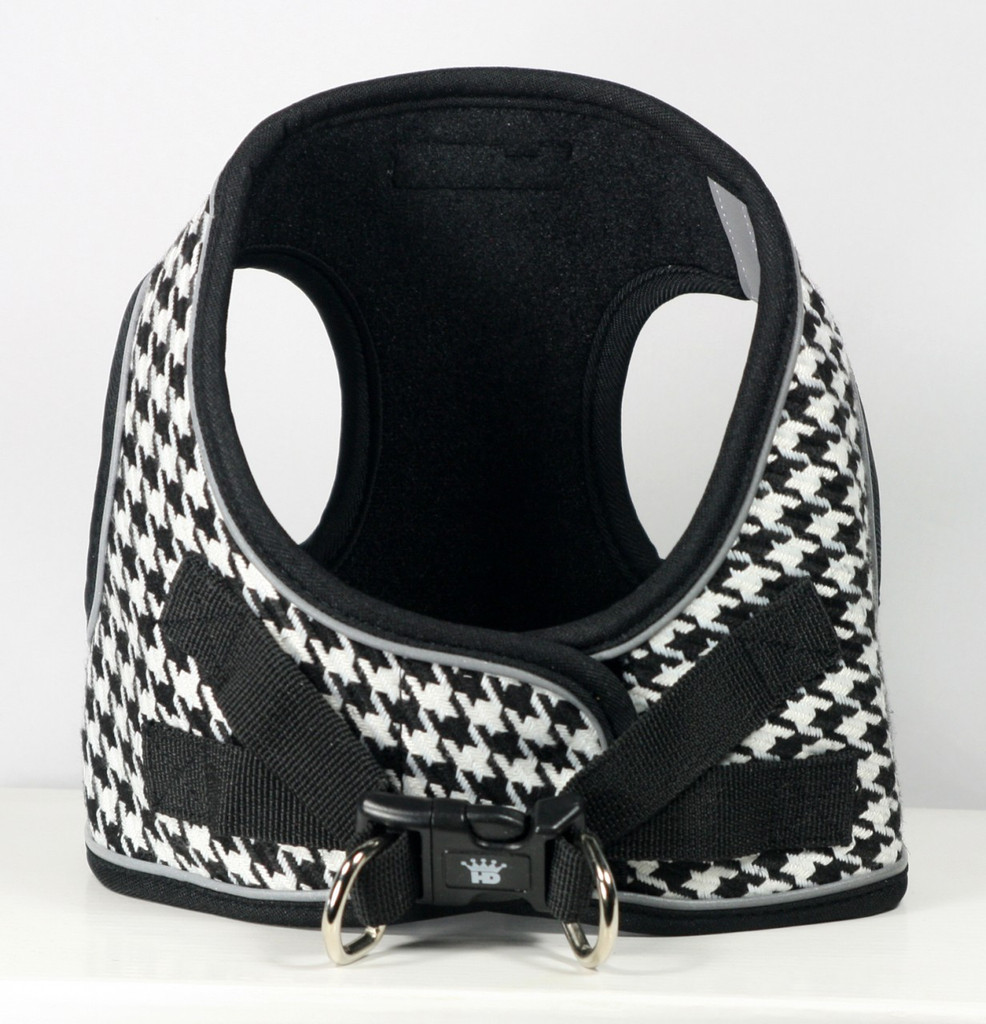 EZ Reflective Houndstooth Harness Vest - White/Black