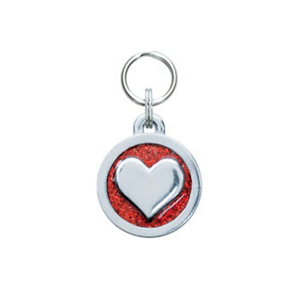 Glitter Circle Heart Tag